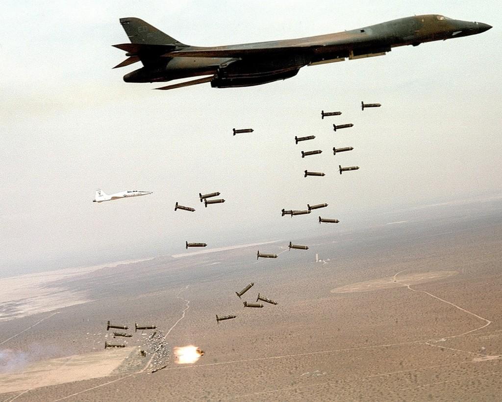 Ilustrasi pesawat Pembom AS (USAF) B-1B Lancer  melakukan pemboman, kemana akan sembunyi? (Foto : project.thestar)