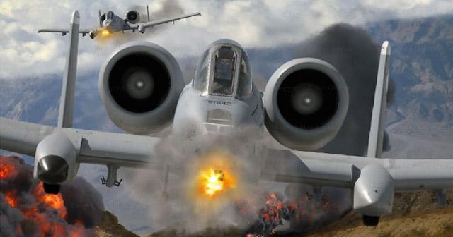 Dukungan Serangan Udara Pesawat Tempur AS menjadi penentu keberhasilan Serangan Darat, Pesawaqt tempur A-10 Warthog melakukan straffing (Foto : controversialtimes)
