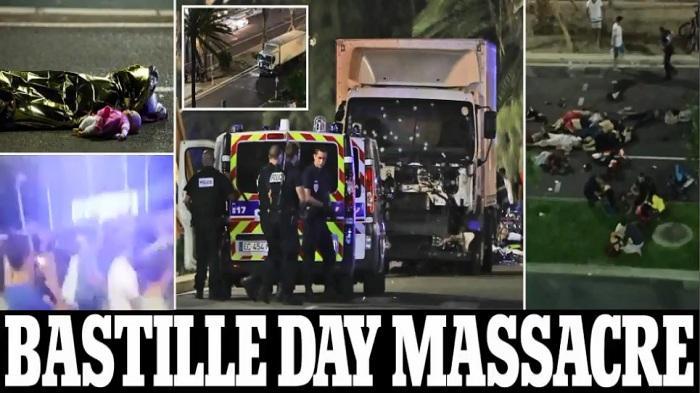 Teror truk yang menabrak kerumunan orang di Nice saat perayaan Bastille (Foto:banjarmasin.tribunnews)