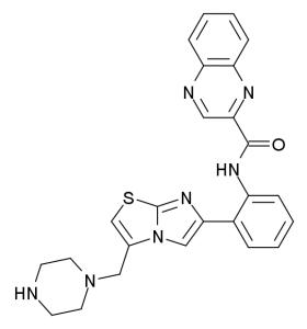 SRT1720 (N-[2-[3-(piperazin-1-ylmethyl)imidazo[2,1-b][1,3]thiazol-6-yl]phenyl]quinoxaline-2-carboxamide)