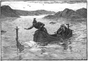 The Lady of the Lake menawarkan Arthur pedang Excalibur. Lukisan oleh Alfred Kappes (1880)