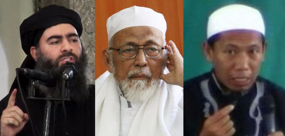 Tiga tokoh terkait ISIS, (Dari kiri) Abu Bakar al-Baghdadi, Abu Bakar Ba'asyir, dan Amman Abdurrahman (foto : detikX)