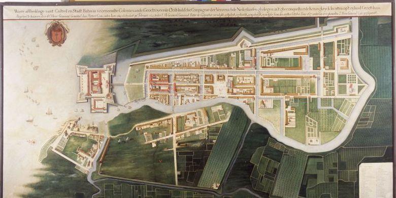 Denah Kota Batavia sekitar 1627 (berorientasi ke timur) , setahun sebelum penyerangan Mataram ke Batavia. Tampak muara Sungai Ciliwung yang belum diluruskan, kelak berjulukan Kali Besar. Lukisan ini dibuat pada 1919-1921 yang merupakan reproduksi peta semasa karya Frans Florisz. van Berckenrode yang sudah lapuk (warisan J.P. Coen). Kawasan berbingkai merah menunjukkan lokasi Bastion Hollandia yang bersabuk parit, kubu di tenggara kota Batavia.